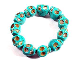 Bracelet Stone Beads Turquoise, Bracelet, Natural Stone, Pretty Bracelet, Unigue, Handmade Bracelet Turquoise, Elastic