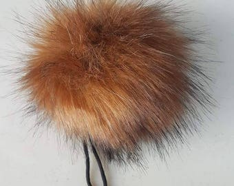 The AMBER pom pom // Faux fur pom poms, handmade hat accessory, cruelty free fur, large pom poms, 5 inch