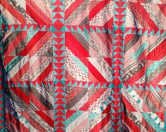 Scrappy Stripped Geometric Red and Teal Quilt