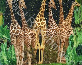 Instant Digital Download Print Giraffes Printable Gift Wall Art Poster Modern Collage Multimedia