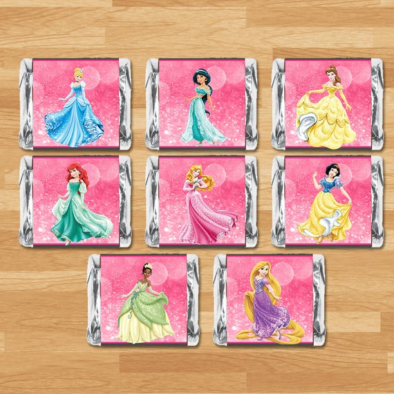 Disney Princess Mini Candy Wrappers - Chalkboard - Disney Princess Miniature Chocolate Bar Wrappres - Printable Princess Party Favor