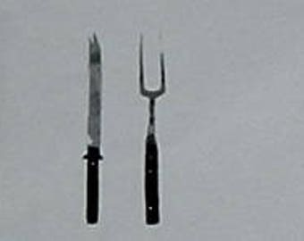 Miniature SERVING KNIFE & FORK (Infinity)