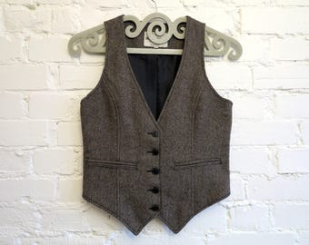 Brown Women's Vest Fitted Steampunk Formal Vest Brown Waistcoat Womens Gilet Small Size