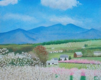 Apple orchard fields in spring -- Soft pastels painting