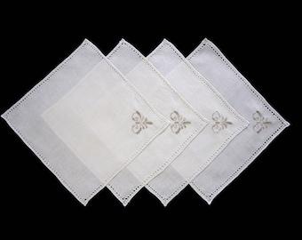 "Set of Four Vintage Cream Linen Tea Napkins, Embroidered, Cutwork Luncheon Napkins - 10.5"" x 11"" (cv2035)"