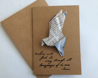 Recycled Newspaper Bird Origami Greeting Card
