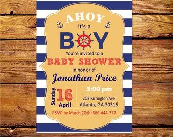 Nautical Invitation,Nautical Birthday Invitation,Nautical Baby Shower Invitations,Ahoy Invitation, Nautical Party Supplies