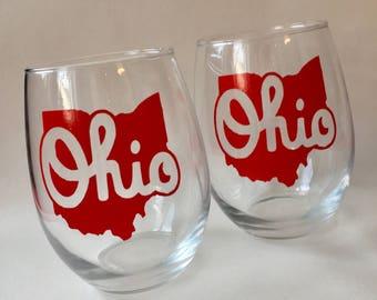 Set of 2 Script Ohio 21oz. stemless wine glasses