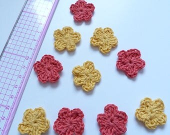 Set of 10 crocheted yellow and orange flowers