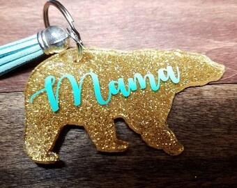 Mama Bear Keychain, Mama Bear, Mama, Keychains