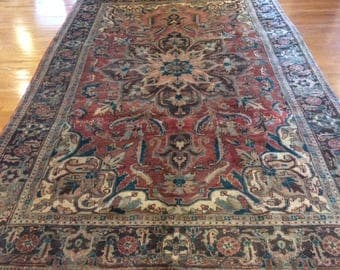 Persian rug semi antique very nice hand knotted wool 7.8 x 11.0