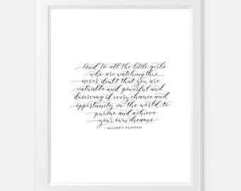 Hillary Clinton Quote 8x10 Fine Art Calligraphy Print