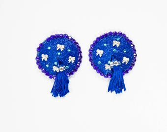Blue Glitter Nipple Tassels, Blue Glitter Pasties, Blue Bow Burlesque Pasties, Custom Burlesque Pasties, Custom Nipple Tassels