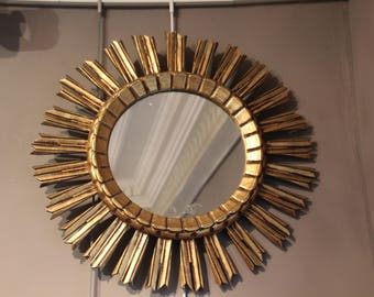 French vintage Sunburst mirror, Sun mirror, Gilt wood vintage Sunburst mirror, French vintage mirror, Vintage mirror, Sunburst mirror Mirror