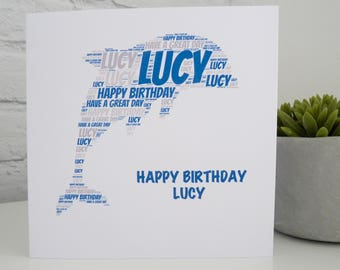 Personalised Dolphin Card, Personalised Birthday Card, Personalised  Card, Dolphin Card