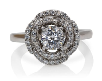 Diamond Engagement Ring with Rose Design and White Gold | 4987