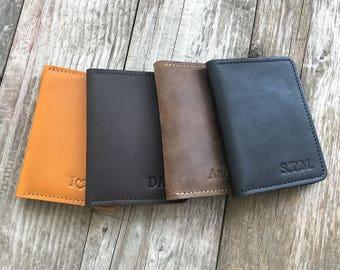 Minimalist wallet Mens leather wallet Personalized leather wallet Slim wallet Front Pocket wallet Groomsmen gift Credit card wallet.