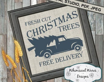 Christmas svg, old truck svg, christmas tree svg, old truck with tree digital download .studio3 file svg eps ai pdf files all included