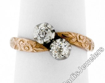 Antique Edwardian 18K Rose Gold & Platinum 0.44ctw Old Mine Diamond Floral Etched Bypass Ring Size 6.5