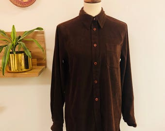 Vintage 90s Chocolate Brown Suede Like Button Up