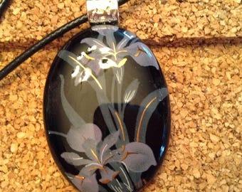 Fused Glass Pendant- Iris -Fused Glass Necklace-Fused Glass Jewelry-Glass Jewelry-Glass Pendant