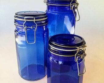 Blue Canister Set | Vintage Canister Set, Lockable Lid Kitchen Canister Set, Cobalt Blue Glass, Kitchen Storage, Retro Canisters, Sealable