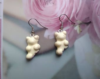 Strawberry white chocolate energetic Cubs earrings - Fimo 2 cm