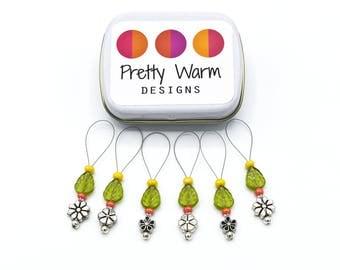 Green Stitchmarker Set - Silver Stitch Markers - Knitting Stitchmarkers - Snag Free Stitch Markers - Beaded Stitch Markers - Stitch Marker