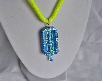 Blue Glitter Popsicle Necklace with Neon Green Cord