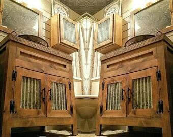 "Tin City Edition 18"" - 96"" Reclaimed, Rustic, Vintage, Farmhouse, Barn Wood, Corrugated Tin Bathroom Vanity"