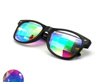Black Wayfarer Frame Grid Lens Glasses - EDM Rave Trippy Dance Music Festival
