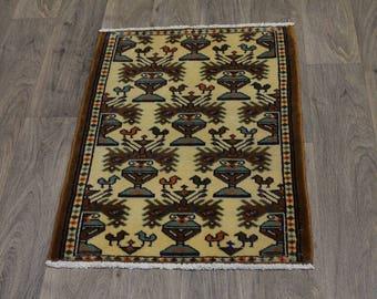 Very Unique Design Hand Knotted Turkoman Persian Area Rug Oriental Carpet 2X3