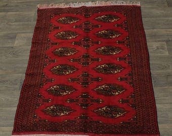 Small S Antique Handmade Tribal Turkoman Persian Area Rug Oriental Carpet 3X5