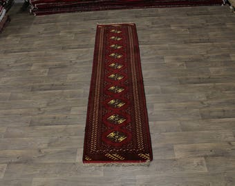 Genuine Handmade Tribal Runner Turkoman Persian Area Rug Oriental Carpet 2ʹ4X9ʹ7