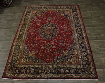 Antique Gold-Washed Signed Mashad Persian Area Wool Rug Oriental Carpet 8X11