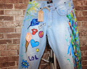 Jeans Boyfriend Jeans festival clothing Hand Painted Paint Jeans pattern Hand Painted Jeans Drawing on jeans birthday anniversary