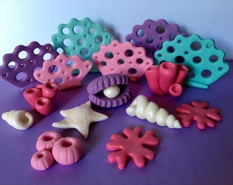 Edible fondant mermaid theme cake toppers. Cupcake decoration toppers.