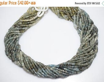 50% OFF AAA Quality Shaded Moss Aquamarine Faceted Rondelle Beads 13 Inch Strand ,Moss Aquamarine Faceted Rondelle , 3 mm - MC251