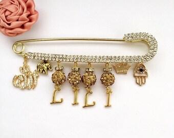 18k Gold Machallah Stroller Baby Pins