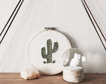 Arizona Cactus Embroidery Hoop Wall Hanging