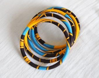 Bracelets yellow wax fabric / colorful bangles bracelets