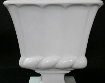 Vintage milk glass pedestal vase, planter, candle holder, candy dish.