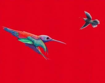 "Hummingbird ""Messenger"" 56 x 44 high quality print from original pastel on paper. Wall art, home decor."