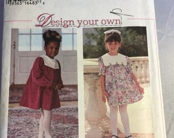 9376 Simplicity Child's Dress Yoke Gathered Long or Short Sleeves