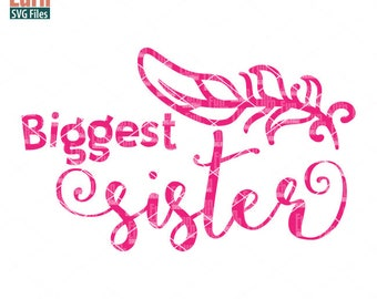 Biggest Sister svg, Birth Announcement, New born,  feather, Sister, sibling svg,  Family, Family svg, dxf, png, eps