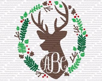 deer monogram, svg, cut, file, decal, vector, silhouette, cricut, vinyl, antlers, fall, Christmas, monogrammed, circle, wreath, design