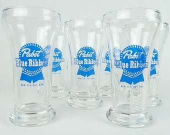 PBR VINTAGE GLASS, 6-pack beer, man cave, retro, set of six 219