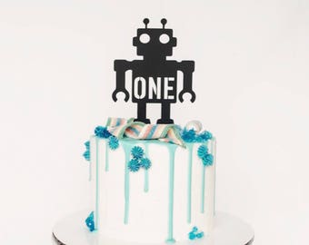 First Birthday Robot Cake Topper