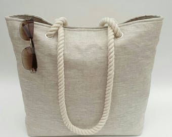 SALE! Beach bag/Tote neutral linen effect matt oilcloth, Neutral, Effortlessly stylish, Casual, Timeless, Oilcloth beach bag, Oilcloth bag,