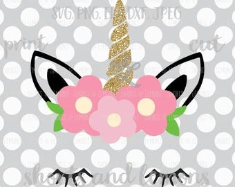 Unicorn svg, Unicorn face svg, Flower crown unicorn, Unicorn eyelashes, SVG, DXF, shorts and lemons, unicorn svg, ice cream svg, pink gold